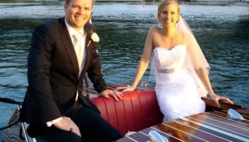 Glamorous wedding transport on Noosa Dreamboats gorgeous mahogany classic boat