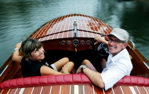 2012 Sunshine Coast Business Awards Tourism Experience Award winners Michael and Sandy Guthrie on their classic wooden speed boat