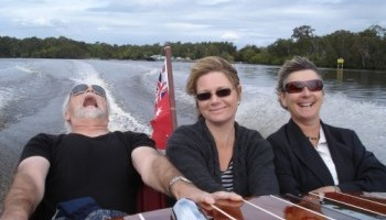 Woo Hoo riding in Noosa Dreamboats classic boat on the Noosa River