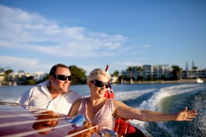 Noosa tours in a classic wooden speed boat-that's la dolce vita!