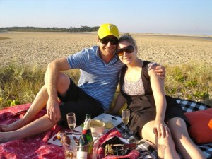 Noosa Dreamboats-Lachie and Anna sandbar picnic proposal