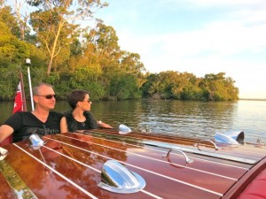 Noosa tours- drifting silently beyond Lake Cooroibah on Noosa Dreamboats classic boat