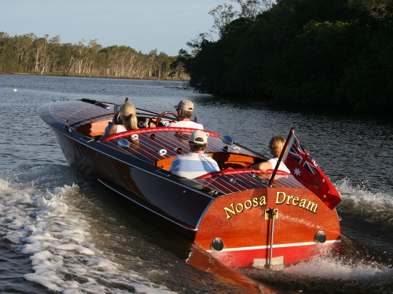 Classic wooden power boat Noosa Dream