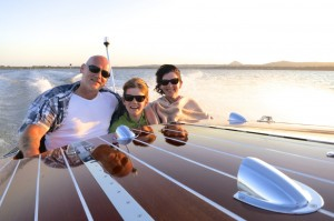 Crossing lake cooroibah on a noosa classic boat sunset cruise