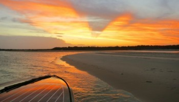 The view from the Noosa River sandbar on a noosa dreamboats sunset cruise.