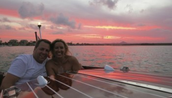 Sunset across the noosa river during a Noosa Dreamboats sunset cruise