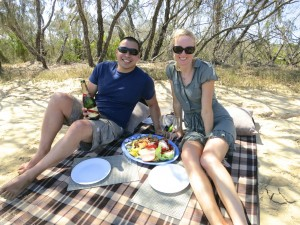 Noosa sandbar picnic and classic wooden speed boat cruise