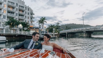 Classic Boat Wedding transport Sheraton Noosa Resort