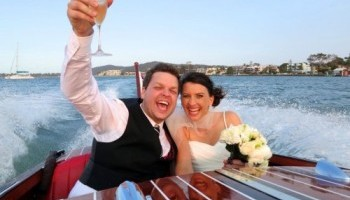 Happy bride and groom after their noosa wedding