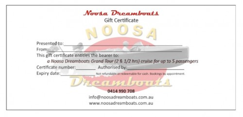 Noosa Dreamboats gift certificate Grand Tour cruise