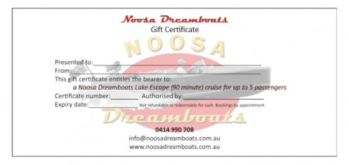 Noosa Dreamboats gift certificate Lake Escape Cruise