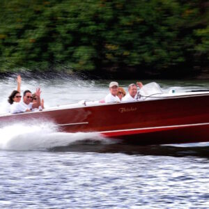 Classic wooden speed boat cruises in Noosa