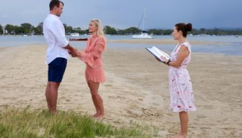 A private wedding ceremony on a Noosa River sand island