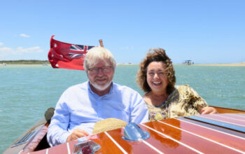 Kevin Rudd and Therese Rein enjoying their Noosa River cruise